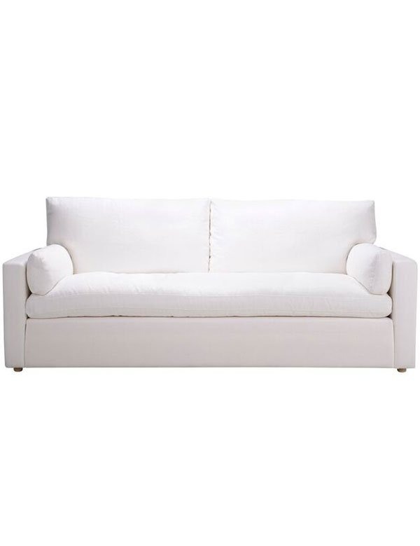 The Laurent Sofa is a classical, 3-seater, white linen sofa that is the ultimate in relaxed sophistication. Product Information: W: 224.0 H: 93 D: 99