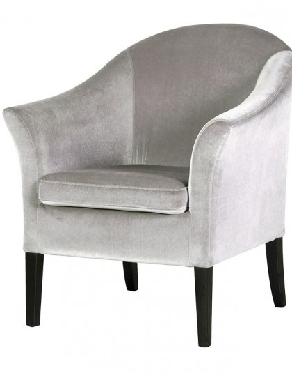 See the Deauville Silver Velvet Chair in your home? This Occasional chair comes upholstered in a Silver Velvet fabric. H: 810 W: 700 D: 650 mm