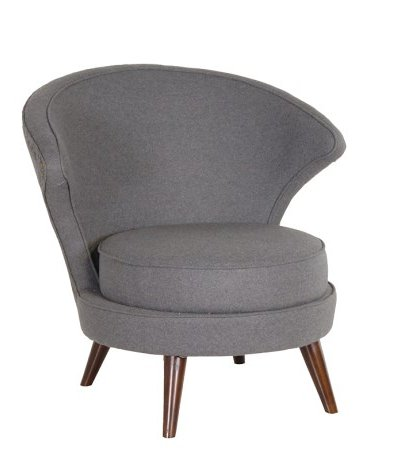 This Grey Felt Round Chair is the perfect addition to almost any setting.The piece has a subtle round back design and upholstered in a Grey felt fabric.