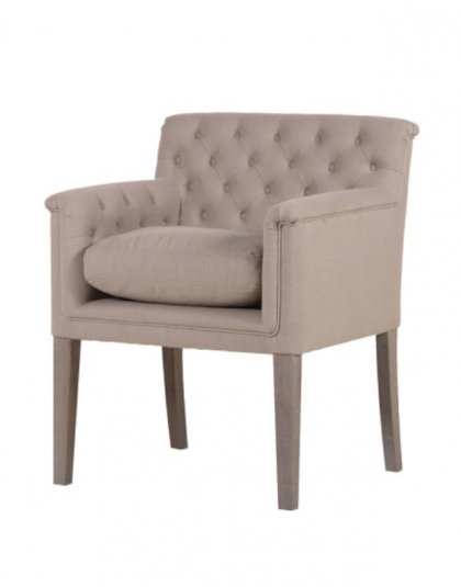 The Sand Reno Arm Chair is a great addition to a living room setting.The piece comes upholstered in a Sand coloured Linen fabric. H: 810mm W: 680mm D: 650mm