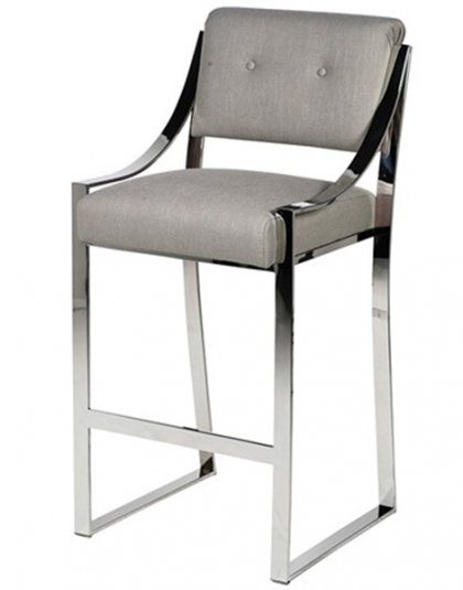 The Yorkville Bar Chair is just perfect for that sleek bar setting.The piece comes upholstered in a grey linen fabric with chrome legs.
