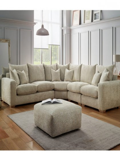 The Andorra Corner Sofa is a large distinctive piece. The piece is designed for those who want the feel of larger over-sized cushions in a relaxing setting.