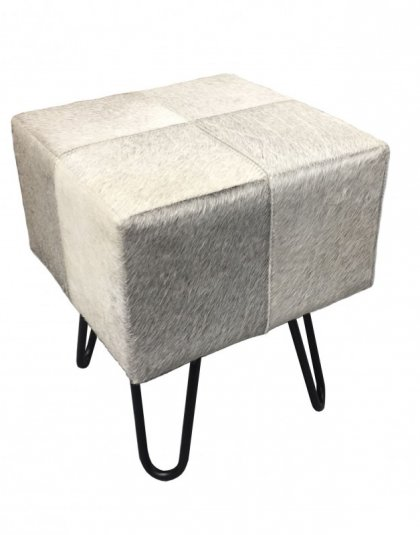 See this Cowhide Leather Stool in your home? This stool is the perfect addition for anyone who loves the real thing. H: 45cm L: 35 W: 35cm.