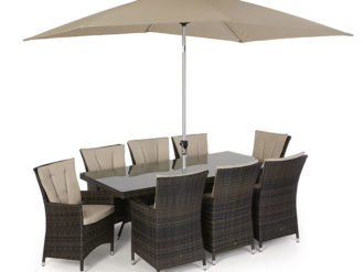 See this LA 8 Seat Rectangular Dining Set in your outdoor furniture collection? The LA range is typified by its deep chairs and modern appearance.
