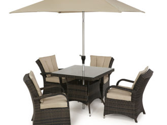 See the Texas 4 Seat Square Dining Set in your outdoor furniture collection? The Texas range is known for its sleek appearance and deep chairs.