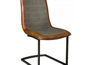 See the Adam Chair in your homes furniture collection? The piece comes upholstered in a mixed grey linen fabric with leather around the edging.