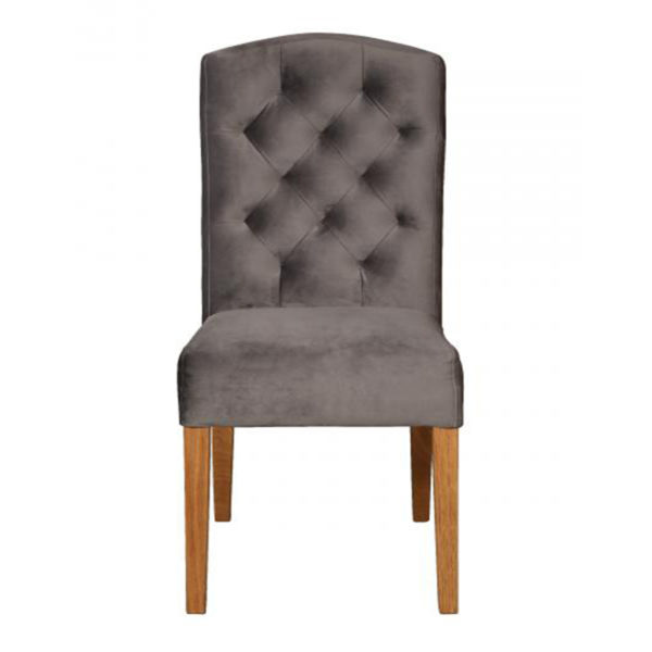 See the Amy Chair in your home? This piece comes upholstered in a grey linen fabric with silver studding detail. Width: 45cm Depth: 59cm Height: 103cm