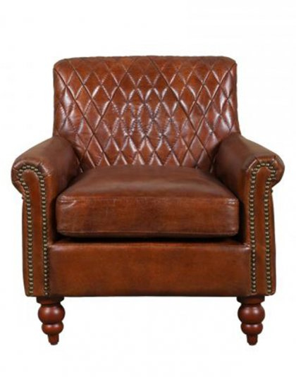 The Dakota Chair comes upholstered in an antique brown leather with studding detail around the front and back. Width:71cm Depth:77cm Height: 75cm