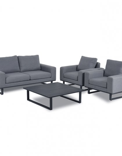 See the Ethos Sofa Set in your outdoor furniture collection?The range offers a uniquely design, with bold lines and thick armrests for supreme comfort.