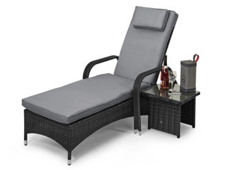 The Florida Sunlounger is a staple favourite for the summer months with its slight arch, side table, and adjustable back.