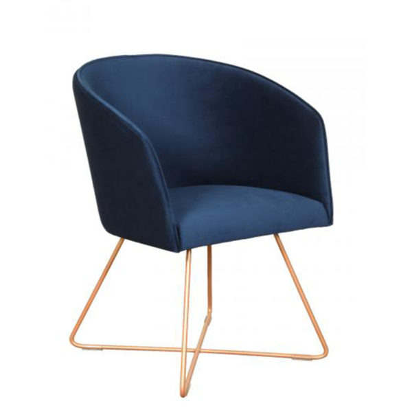 See the new Fremont Tub Chair in your dining collection?This piece comes upholstered in blue fabric with bronze polished metal legs for support.
