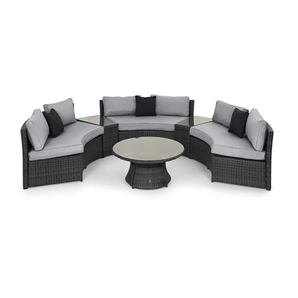 The Half Moon Sofa Set is something quite unique; made up of three curved sofas, along with two trapezoid side tables that slot in perfectly.