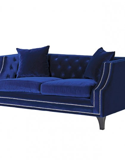 See this Studded Heath Blue Sofa in your home? This piece comes upholstered in Heath Blue Velvet Fabric with silver studded arms for added luxury. Product Information: Dimensions: H: 710mm W: 1580mm D: 880mm