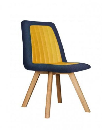 See the Henry Chair in your collection? The piece comes upholstered in a blue and yellow combined Linen fabric with sturdy wooden legs for support.