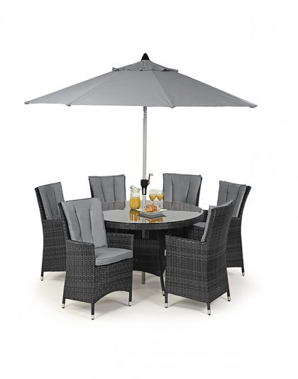 e this LA 6 Seat Round Dining Set in your outdoor furniture collection? The LA range is typified by its deep chairs and modern appearance.