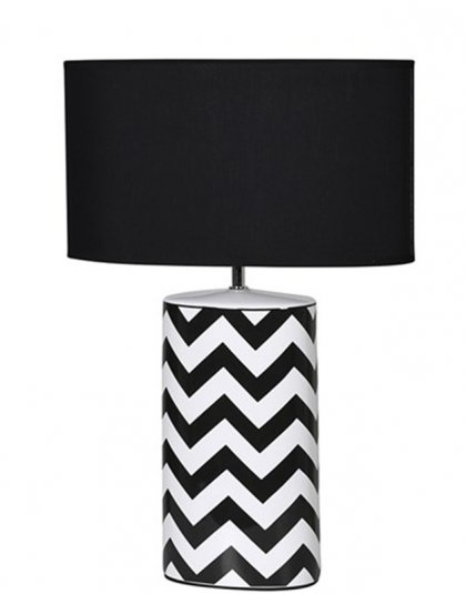 See this Monochrome Zig Zag Table Lamp in your homes lighting collection?This piece carries it's own unique and bold design with it's contrasting pattern.