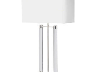 See this Nickel and Acrylic Bar Lamp with White Shade in your homes lighting collection?This piece is definitely not one to miss out on with its bold design