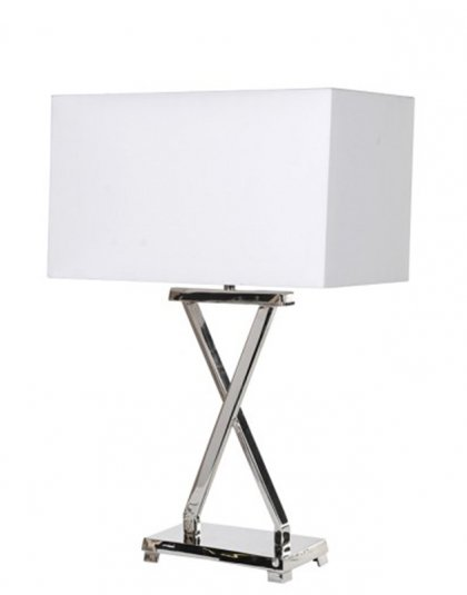 See this Nickel X Table Lamp with White Shade in your homes lighting collection?This piece will fit almost any interior setting.