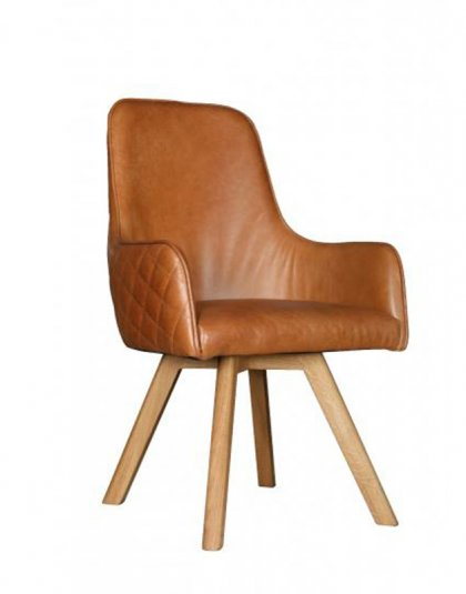 See the Ohio Bespoke Chair in your home?This piece comes upholstered in classic brown leather with sturdy wooden legs for support.
