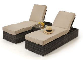 The Orlando Sunlounger Set is ideally perfect for enjoying lazy afternoons in the sun. With its generously filled cushions and matching drinks table,