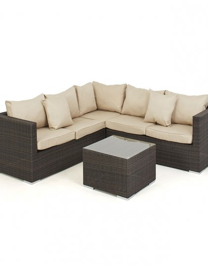 See the Porto Corner Group with Ice Bucket in your outdoor furniture collection? The corner sofa group is complete with our glass-topped coffee table.