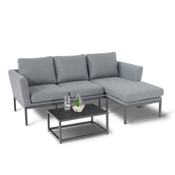 The Pulse has become a highly popular set With a footstool that can sit on either side of the sofa this piece can easily be placed in any outdoor setting.