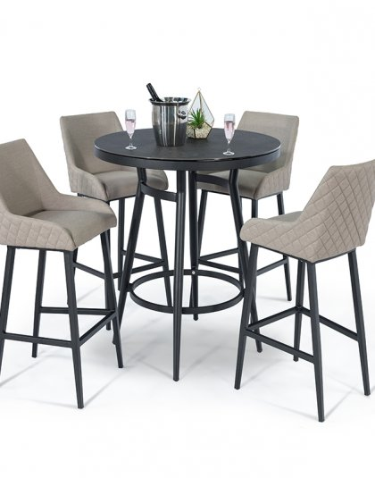 The Regal 4 Seat Round Bar Set is the perfect blend of opulence and masterful design, with quilting on the outside which simply oozes contemporary design.