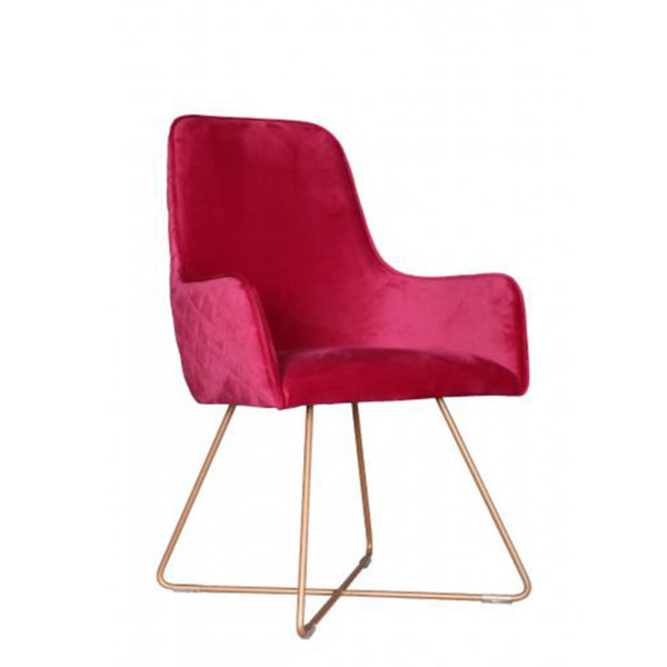 See this beautiful Utah Chair with metal legs in your home?The piece comes upholstered in a vibrant pink fabric with steel metal legs for support.
