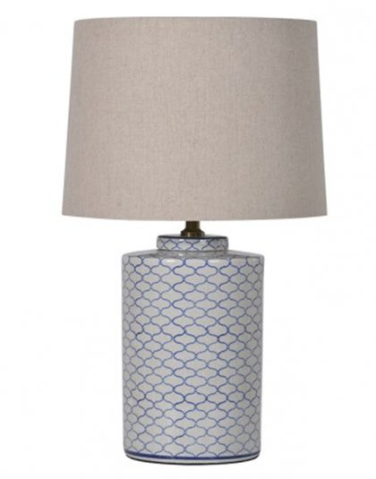 See this Blue and White Crackle Lamp with Shade in your homes lighting collection?This piece exudes a sleek and elegant feel with its cackle pattern design.