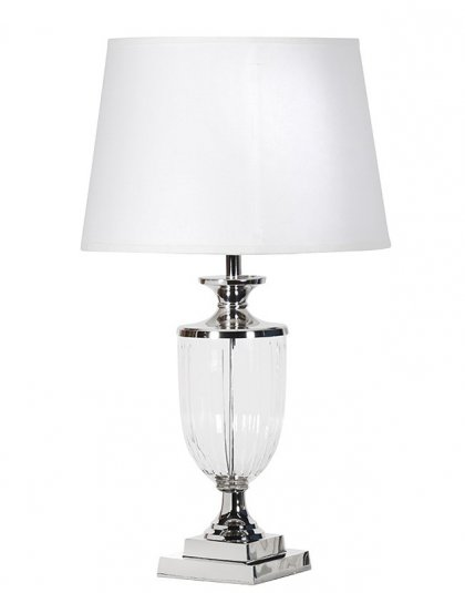 See this Nickel and Glass Urn Lamp in your homes lighting collection?This piece carries its own unique sleek design with an urn-shaped base.