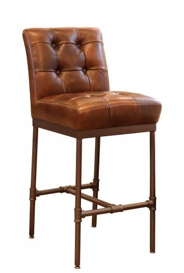 The Union Buttoned Back Bar Stool fits is just perfect for almost any dining or bar area. Upholstered in a classic brown leather. W: 48cm D: 59cm H: 110cm