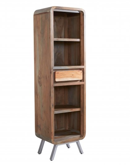 See this Aspen Narrow Bookcase in your home? this range brings a new dimension to furniture by combining solid hardwood with reclaimed metal.