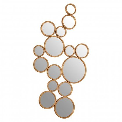 See this Zariah Large Gold Multi-Circle Wall Mirror in your home? This piece fits any contemporary interior setting. DimensionsW170 x D3 x H80cm