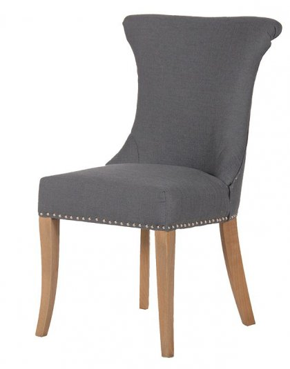 See this Dark Grey Studded Dining Chair with Ring in your Furniture collection? This piece is the perfect addition to any dining room collection.