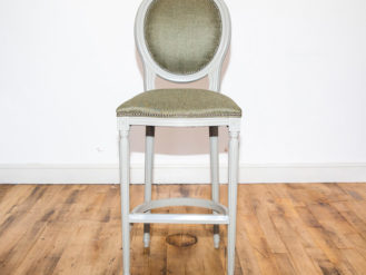 See this Bespoke Bar Seat in your home? The piece comes upholstered in a green velvet fabric with a solid wood frame .Product Information: EX-Display