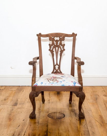 See this Bespoke Wooden Chair W/ Floral Seat in your home?This piece is the perfect addition to any bespoke seating collection.