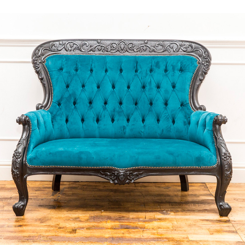 See this Bespoke Back Buttoned 2 Seater in your home? The Piece comes upholstered in a light blue velvet with a dense buttoning for added detail.