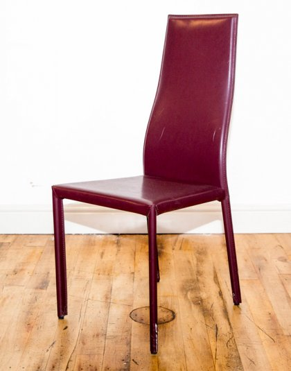 See this Bespoke Deep Red Dining Chair in your home?The piece comes upholstered in a deep red vinyl. Product Information: Ex Display