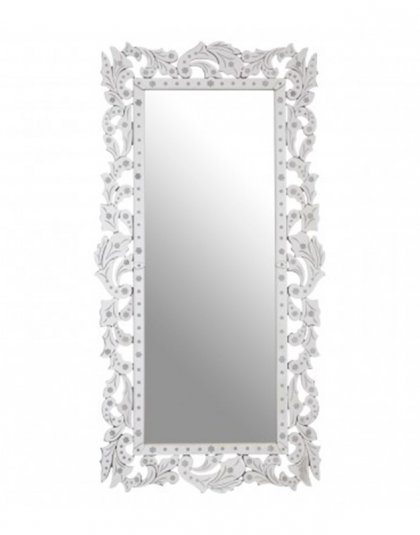 See this Geonna Wall Mirror in your home?The Geonna wall mirror has a floral frame that boasts a reflective, icy silver finish