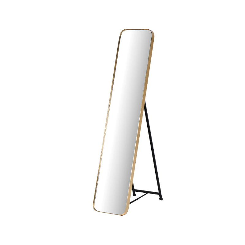 See this Gold Framed Tall Mirror in your homes furniture collection?The piece exudes a clean and elegant design with its Gold Frame and large stand.