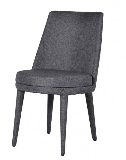 See this Grey Fabric Dining Chair in your home?This little gem is the perfect addition to any dining room collection with its dark grey fabric and size.