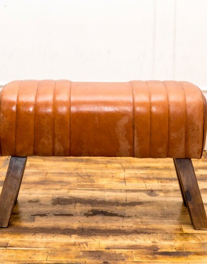 See this Vintage Leather Pummel Bench in your home? This piece is a unique and fun seating addition for almost any interior setting.