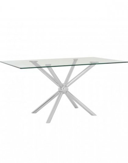See this Novo Rectangular / Silver Dining Table in your home?A large rectangular pane of tempered glass forms the top of the Novo dining table.