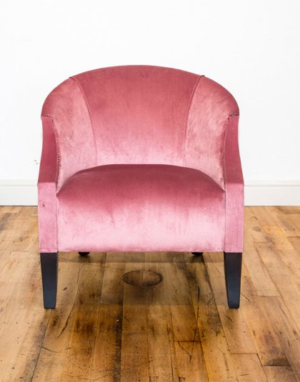 See this Bespoke Pink Velvet Chair in your home? A perfect piece for those smaller spaces needing that extra seat. Ex Display