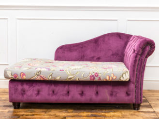See this Bespoke Purple Floral Chaise in your home? The piece comes upholstered in purple velvet with dense buttoning for added detail.