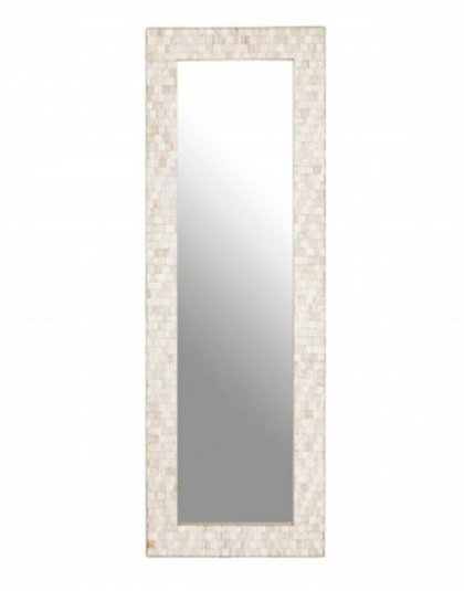 The Hestina Rectangular Wall Mirror is a boho style wall mirror with a mosaic effect frame that boasts a subtle whitewash finish.