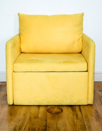 See this Yellow One-Seater Sofa Bed in your home? This piece fully extends to be a single sofa bed .Perfect for those smaller bedrooms.