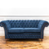 See this Blue Buttoned Chesterfield in your seating collection?This piece comes upholstered in Blue house velvet with dense buttoning for added design.