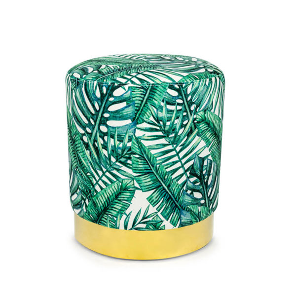 See this Tropical Green Leaf Stool on Gold Base in your homes furniture collection?This unique piece comes upholstered in a bold Green Leaf patterned fabric
