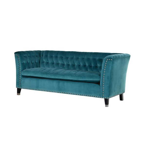 See this Turquoise Enzo Sofa in your furniture collection? This piece comes upholstered in Turquoise velvet with dense buttoning for extra elegance